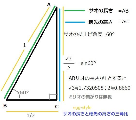 サオの長さと穂先の高さの三角比