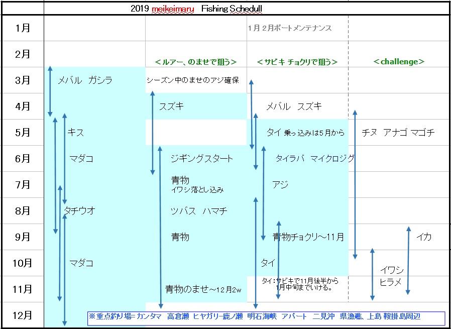 2019 meikeimaru Fishing Schedule