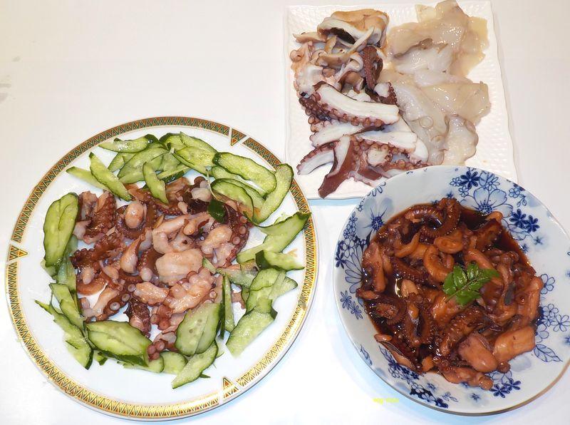生タコとゆでの刺身、オリーブオイル炒め、煮タコ