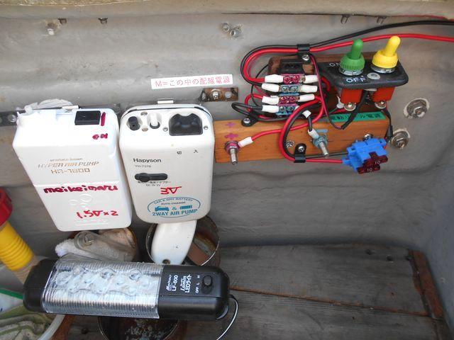 電源室内の電動リール電源端子