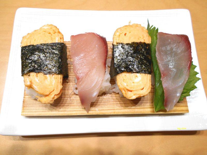 ハマチ寿司と玉子を乗せた寿司、簡単に作れる