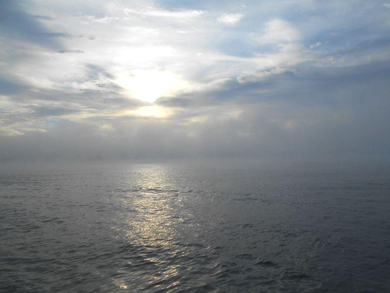 霧が晴れてきましたが、これでもまだこの先の霧に入ると方向を失う
