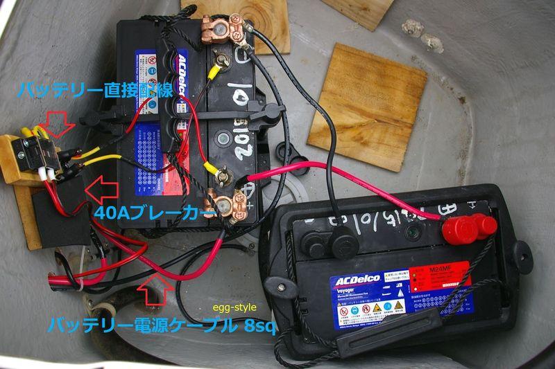80Aのバッテリー2個が電源 ブレーカーを経て8sqケーブルでヒューズへ供給