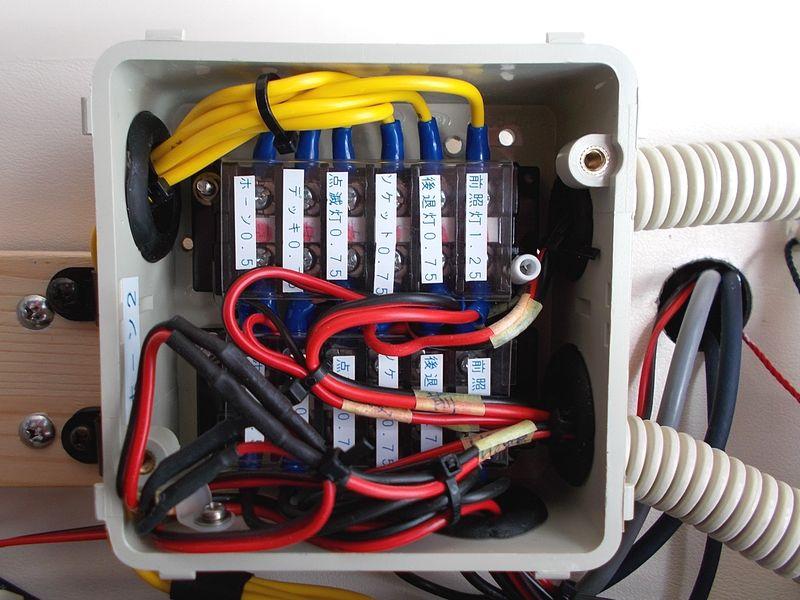 内部の接続端子 ここから外へ出ていくケーブル 作業中で無線のケーブルはむき出し